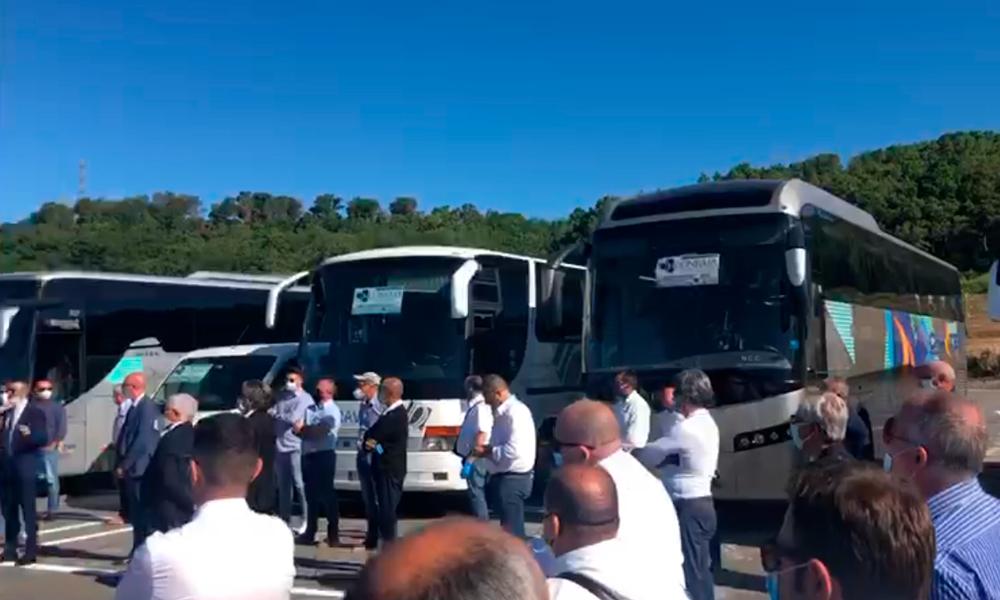 Protesta di bus turistici