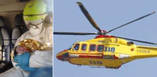 Migrante positiva partorisce sull'elicottero del 118